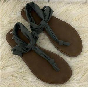 Sanuk Ella LX Yoga Sling Flip Flop Sandals Gray 9